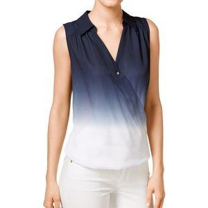 INC Dip-Dyed Faux-Wrap Blouse Ombre Top Plus Size
